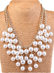 Luxurious Layers White Pearl Necklace