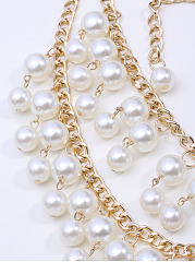 Luxurious Layers White Beads Necklace