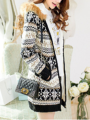 Hooded Pocket Snowflake Brocade Knitted Coat