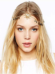 Gold Plated Flower Metal Tassel Gypsy Layer Head Chain