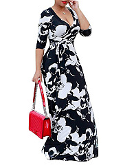 V-Neck  Color Block Floral Maxi Dress