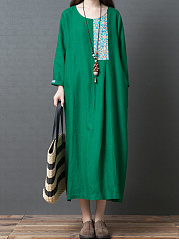 Round Neck  Patchwork Oversized Plain Maxi Dress
