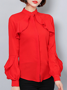 Autumn Spring  Cotton  Women  Band Collar  Flounce  Plain  Long Sleeve Blouses