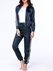 Band Collar Striped Jacket And Drawstring Slit Pocket Slim-Leg Pant