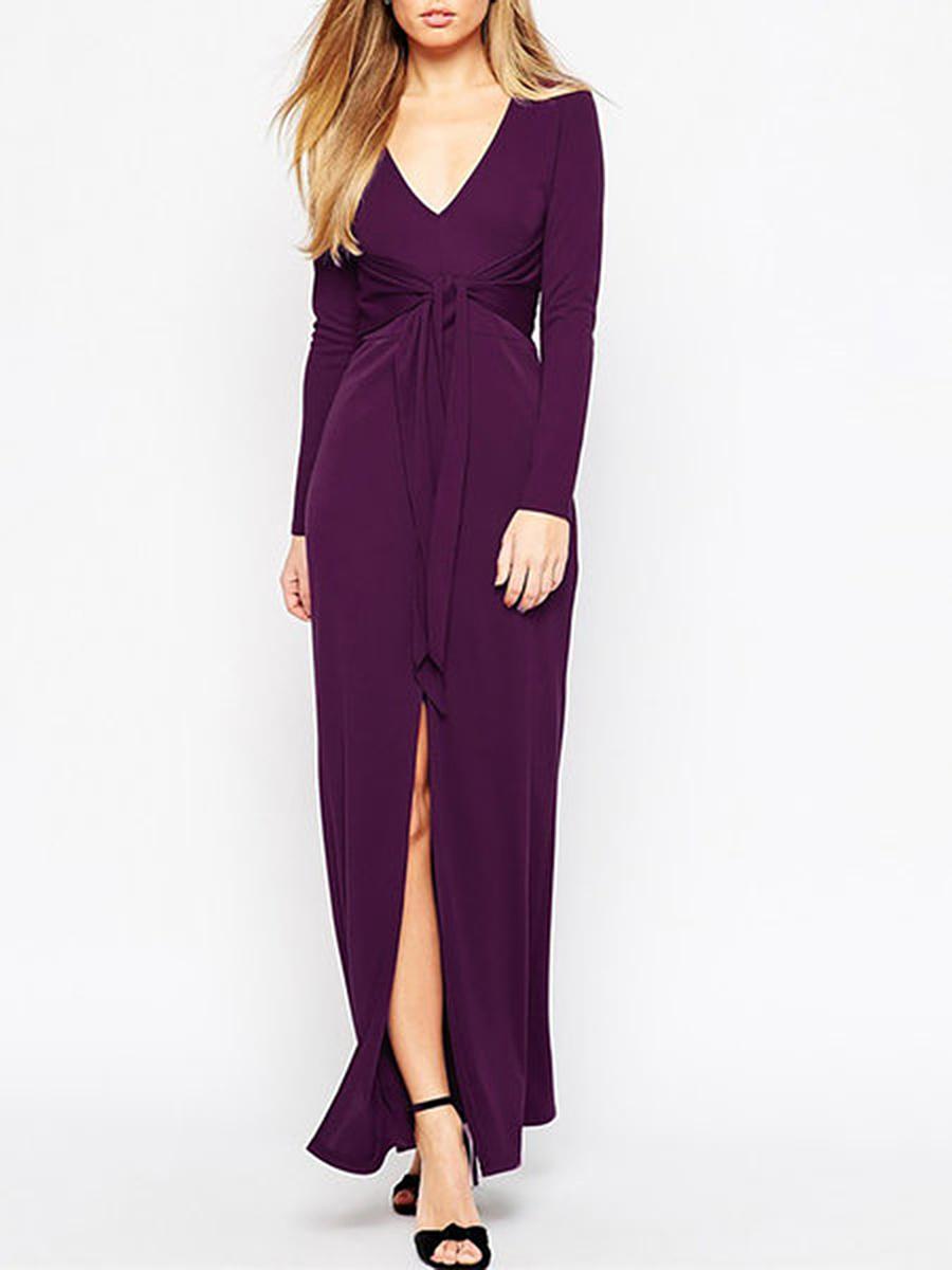 Deep V-Neck  Lace-Up  Plain Maxi Dress