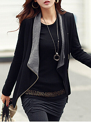 Lapel  Slit Pocket Zips  Plain  Long Sleeve Blazers