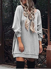Round Neck  Plain Casual Midi Shift Dress