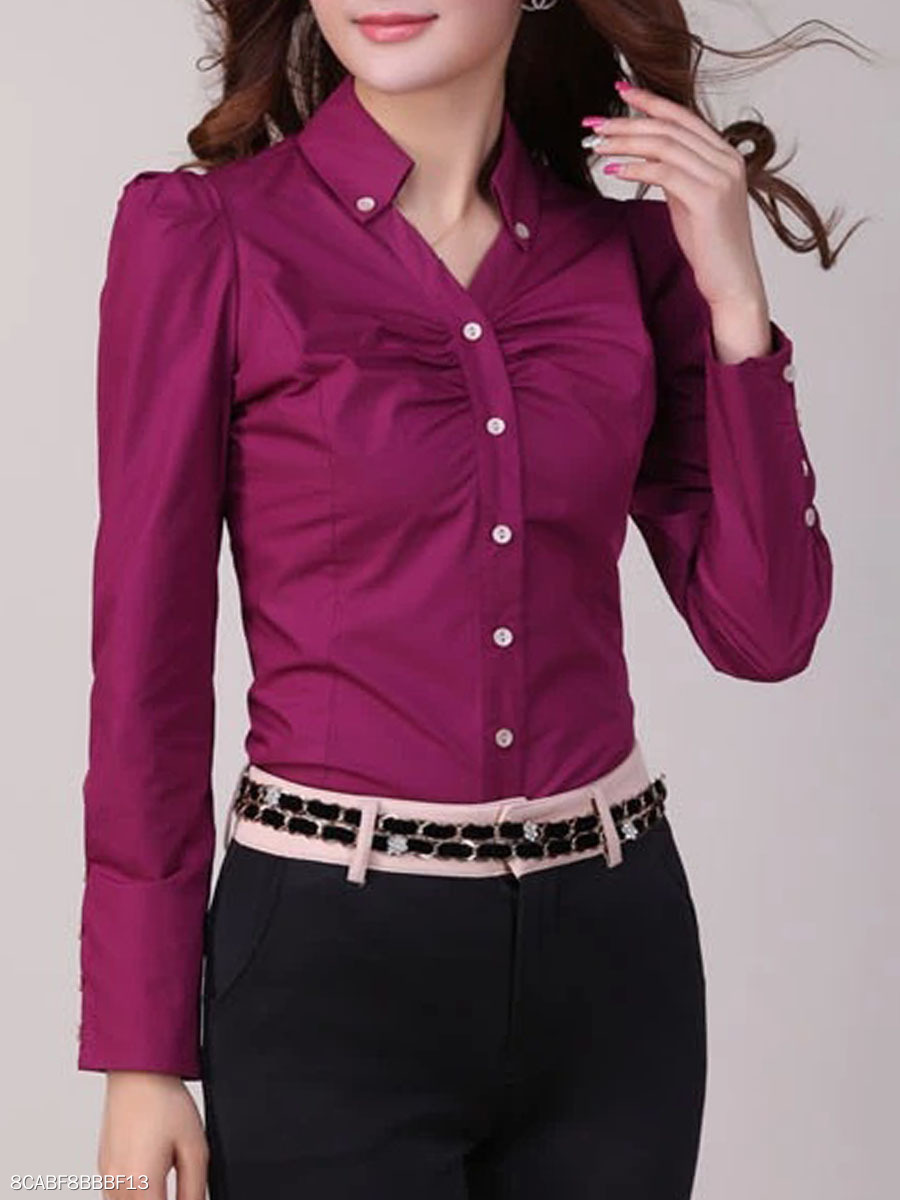 Plain Button Down Collar Blouse