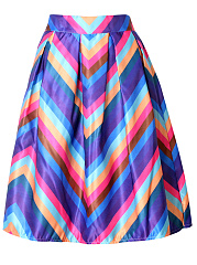 Colorful Striped Inverted Pleat Flared Midi Skirt