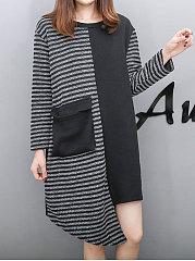 Round Neck  Asymmetric Hem Flap Pocket Patchwork  Striped  Long Sleeve Pullover
