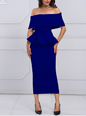 Off Shoulder Peplum Plain Maxi Dress