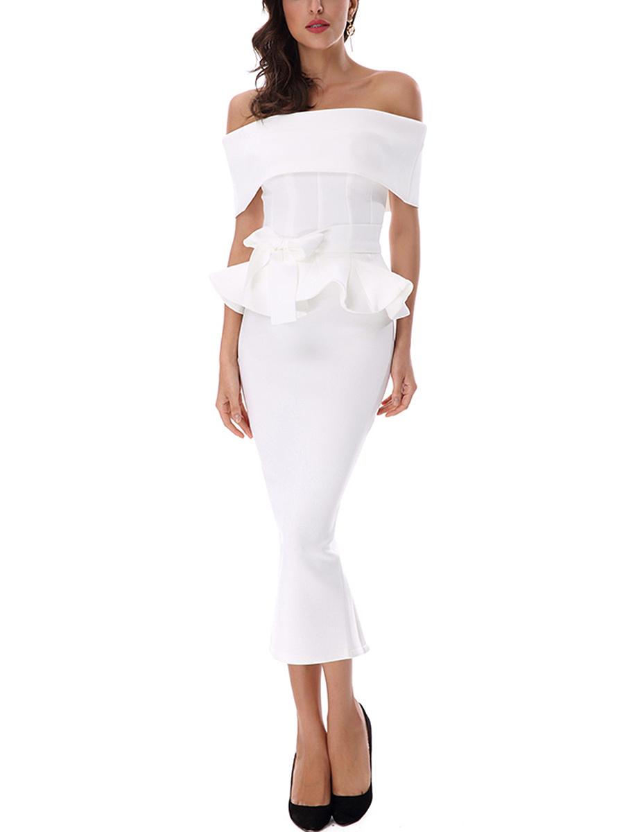 Off Shoulder Peplum Plain Maxi Dress