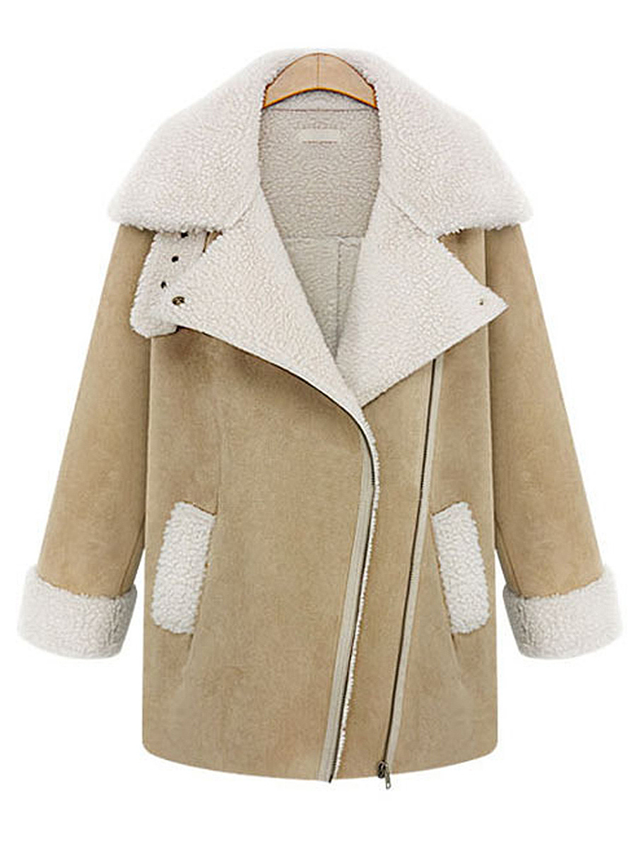 Lapel Fleece Lined Pocket Coat