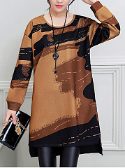 Round-Neck-Color-Block-Printed-High-Low-Knitted-Dress