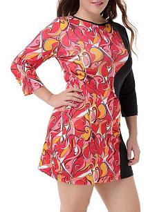 Round Neck  Patchwork  Printed Plus Size Bodycon Dress