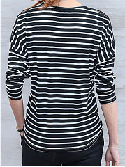Autumn Spring  Polyester  Women  Round Neck  Decorative Lace  Striped Long Sleeve T-Shirts