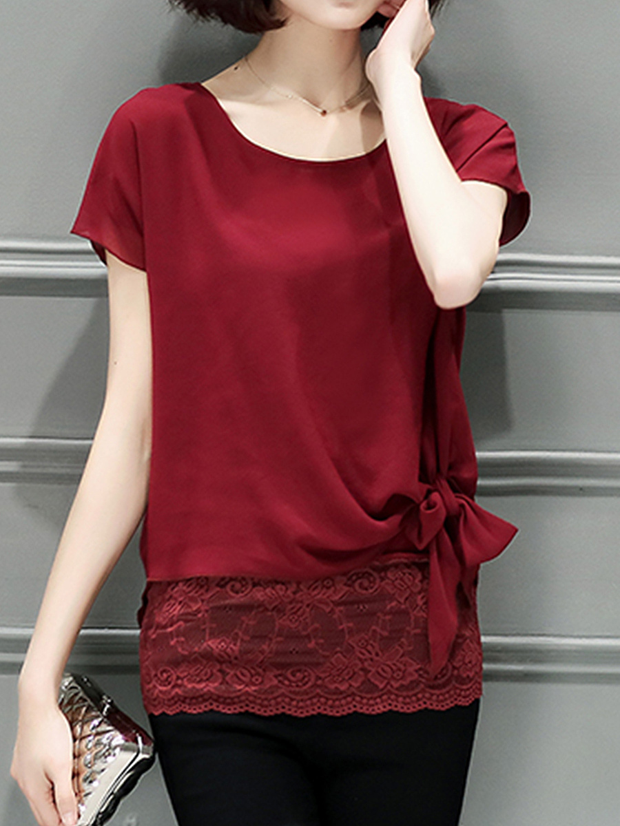 Round Neck Bowknot Patchwork Plain Blouse