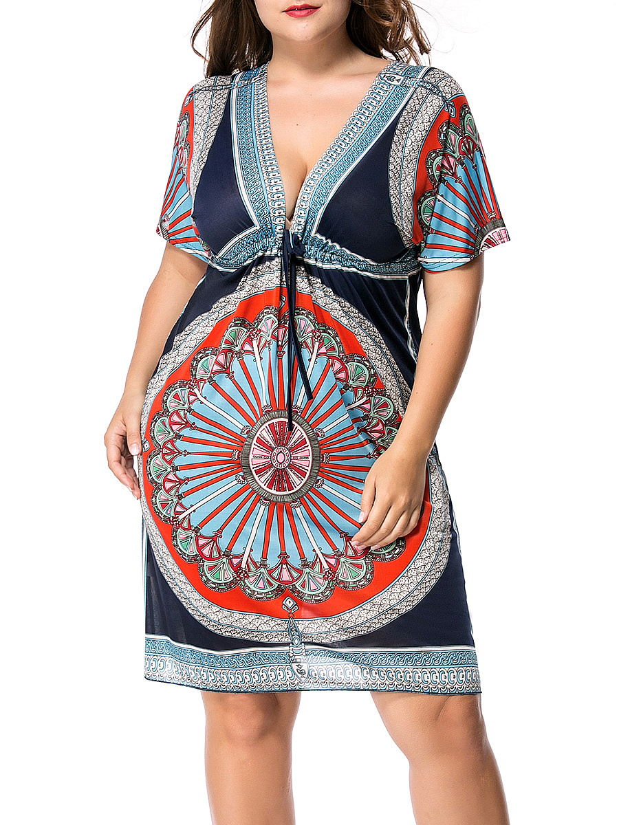 Deep V-Neck Drawstring Plus Size Shift Dress In Tribal Printed