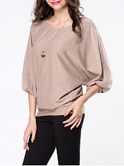 Round Neck Plain Batwing Sleeve Sweater