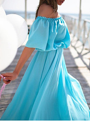 Off Shoulder  Elastic Waist  Plain Maxi Dress