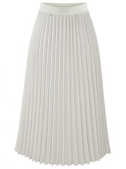 Plain Elastic Waist Chiffon Pleated Maxi Skirt