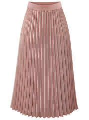 Plain-Elastic-Waist-Chiffon-Pleated-Maxi-Skirt