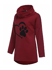Autumn Spring  Polyester  Women  Cowl Neck  Plain Printed  Half Sleeve Hoodies
