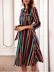 Turn Down Collar  Single Breasted  Belt  Striped Skater Dress