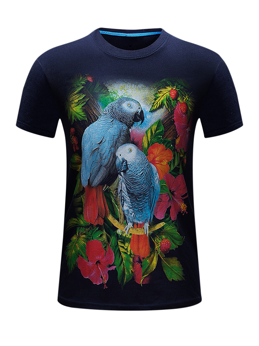 Crew Neck Floral Bird Printed T-Shirt