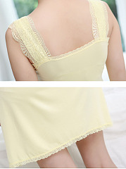 Bra Padded  Decorative Lace  Modal Nightgown