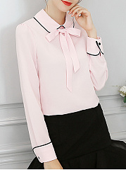 Turn Down Collar  Bowknot  Plain Blouses