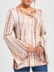 Surplice Gradient Bell Sleeve Long Sleeve T-Shirts
