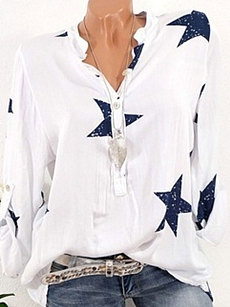 Summer  Polyester  Women  V-Neck  Decorative Button  Star  Long Sleeve Blouses