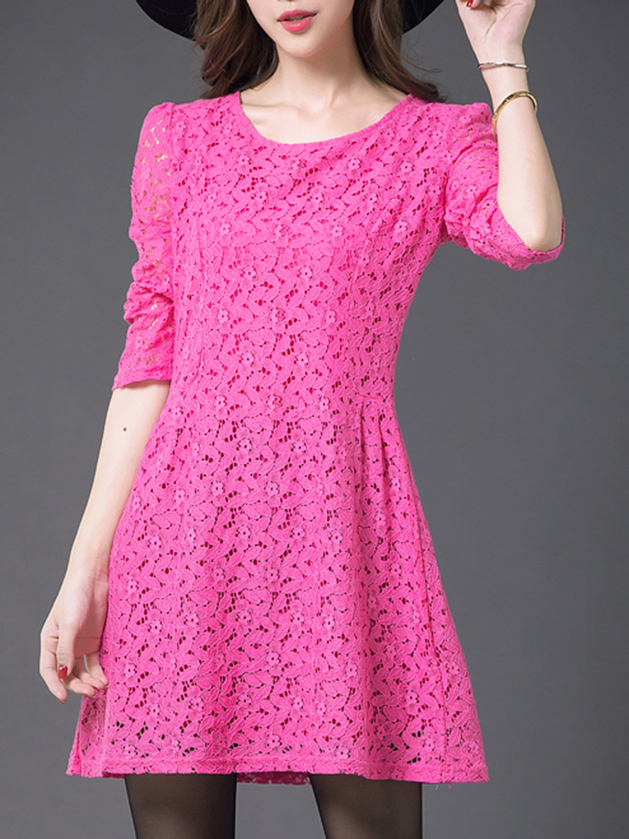 Round Neck Solid Lace Hollow Out Shift Dress