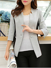 Single Button  Geometric  Three-Quarter Sleeve Blazers