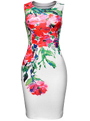 Round Neck Slit Floral Printed Courtly Bodycon Dress
