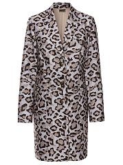 Fold-Over Collar  Single Breasted Slit Pocket  Leopard  Long Sleeve Trench Coats