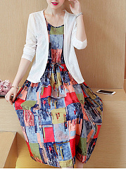 Round Neck  Two Way  Printed Skater Dress