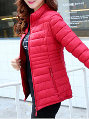 Band Collar Pocket Quilted Plain Padded Coat