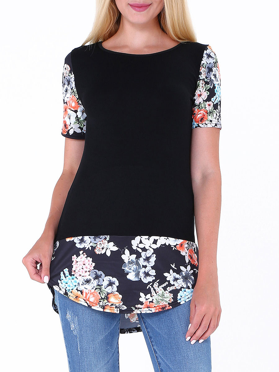 Round Neck Curved Hem Floral Printed Blouse