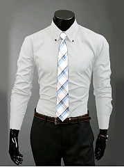 Button Down Collar Single Breasted Men Shirts