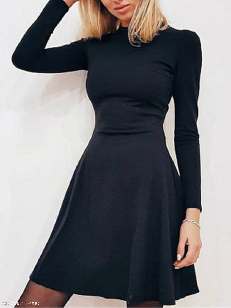 Crew Neck  Casual Plain Skater Dress