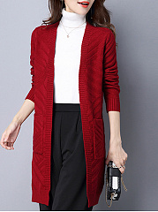 Slit Pocket  Plain Striped  Long Sleeve Cardigans