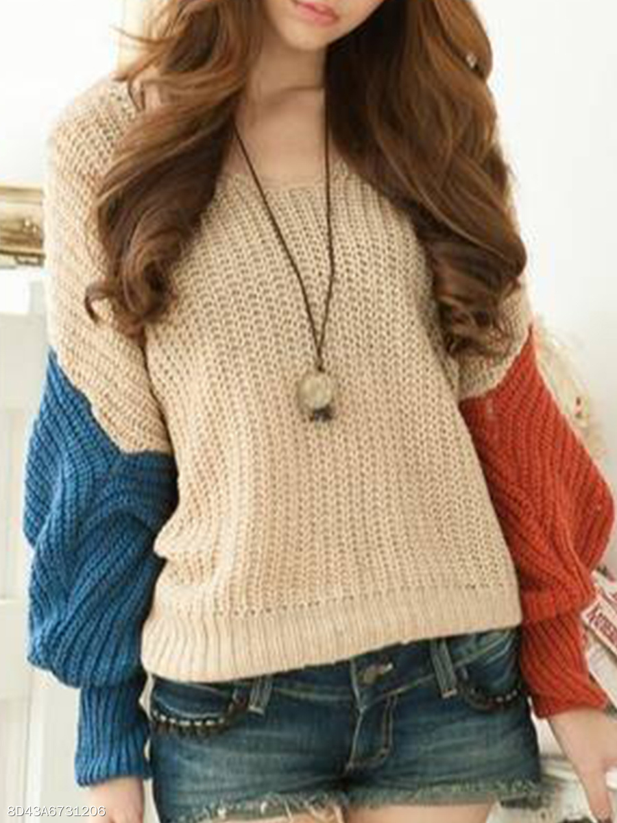 V Neck  Loose Fitting  Color Block  Batwing Sleeve Knit Pullover