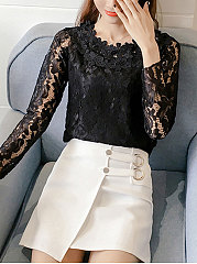 Round Neck  Decorative Lace  Floral  Long Sleeve Blouses
