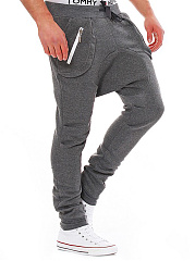Mens-Casual-Elastic-Waist-Patch-Pocket-Pegged-Pants
