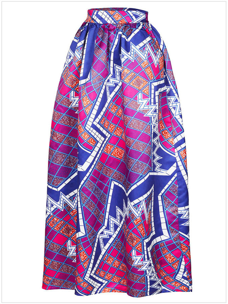 Unique Geometric Printed Flared Maxi Skirt