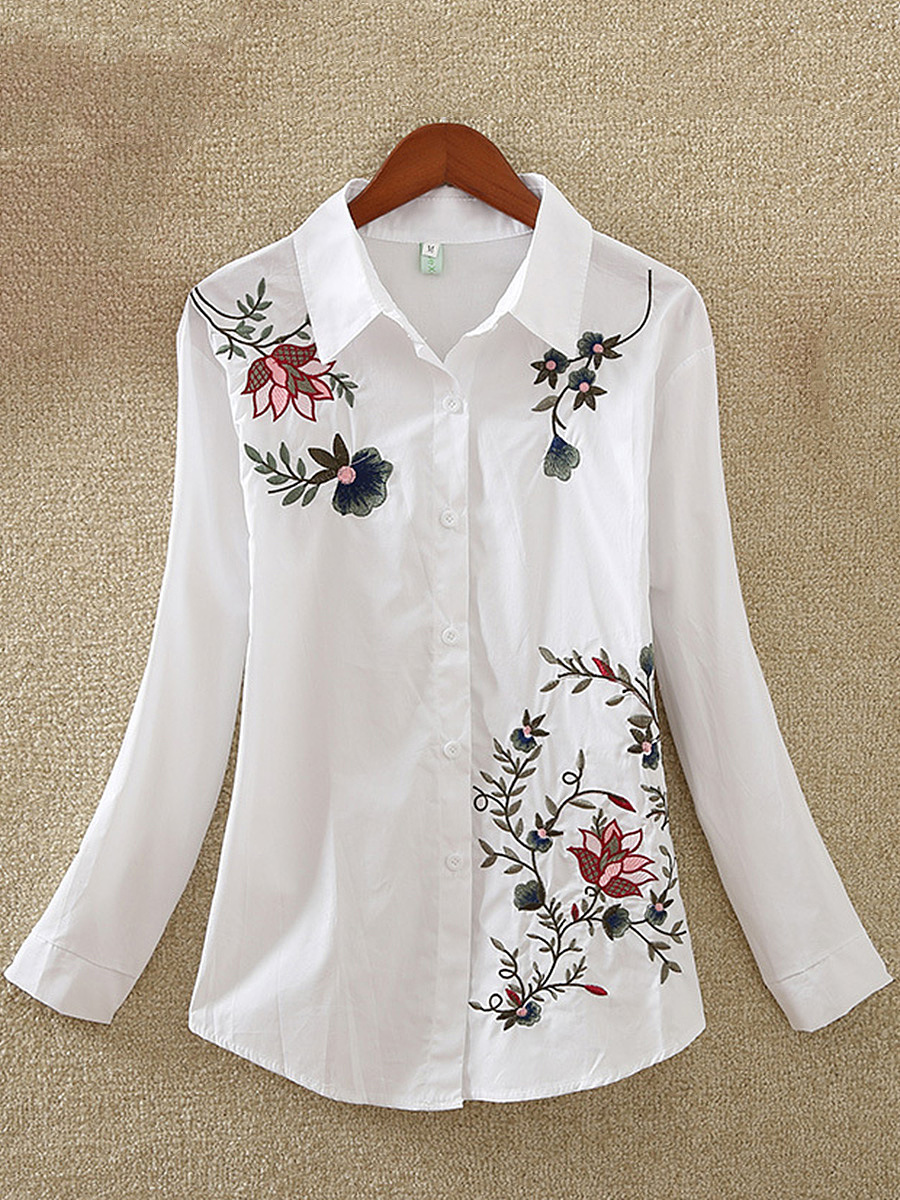 Embroidery Turn Down Collar Blouse