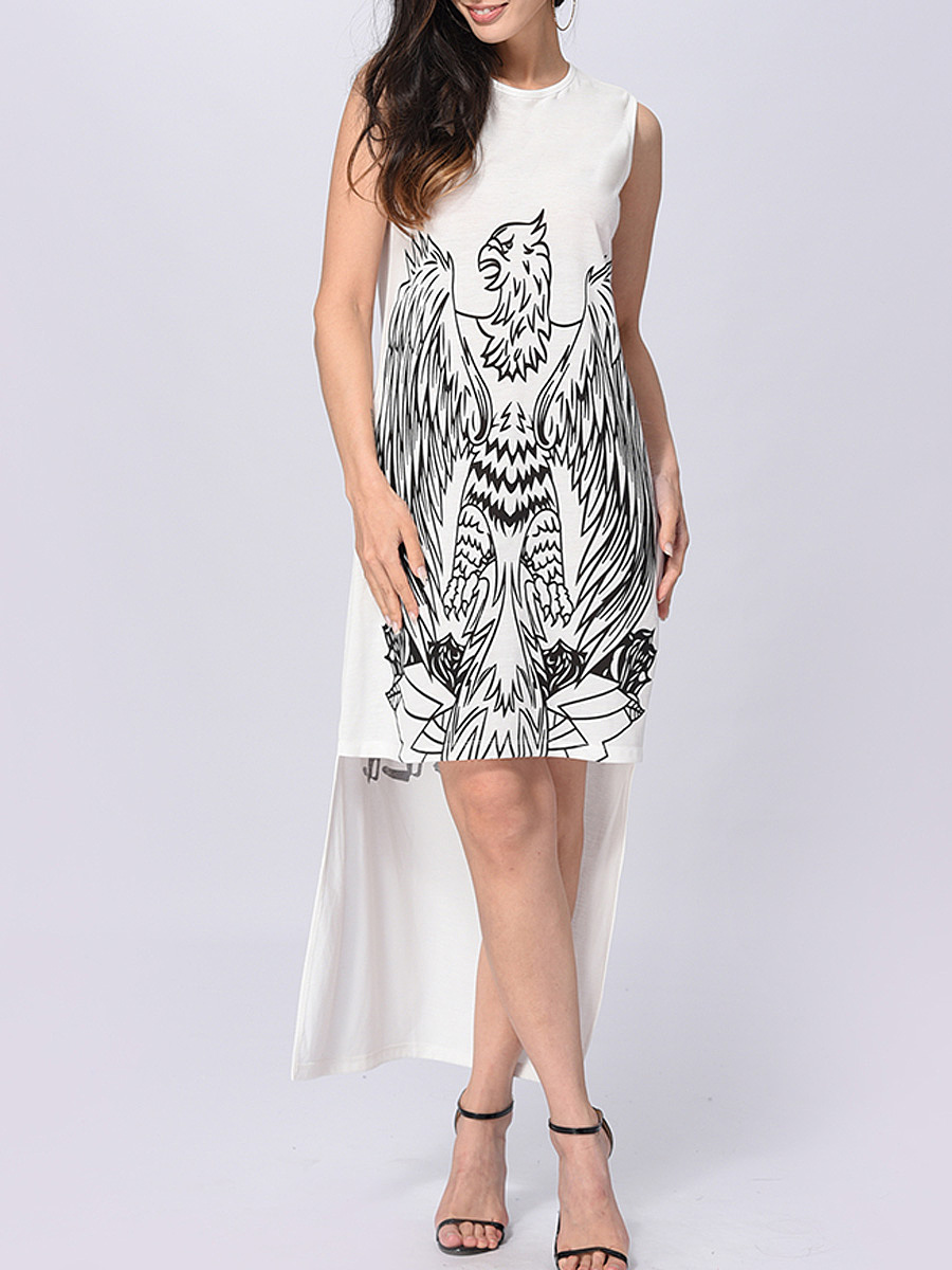 Round Neck  Eagle Pattern Letters Printed High-Low Shift Dresses