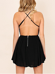 Spaghetti Strap Backless Glitter Plain Mini Skater Dress